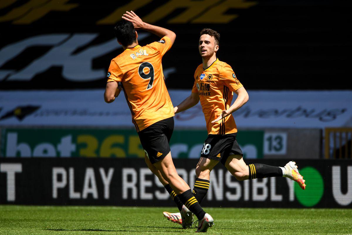 Diogo Jota of Wolverhampton Wanderers celebrates after scoring a goal to make it 3-0 (AMA)