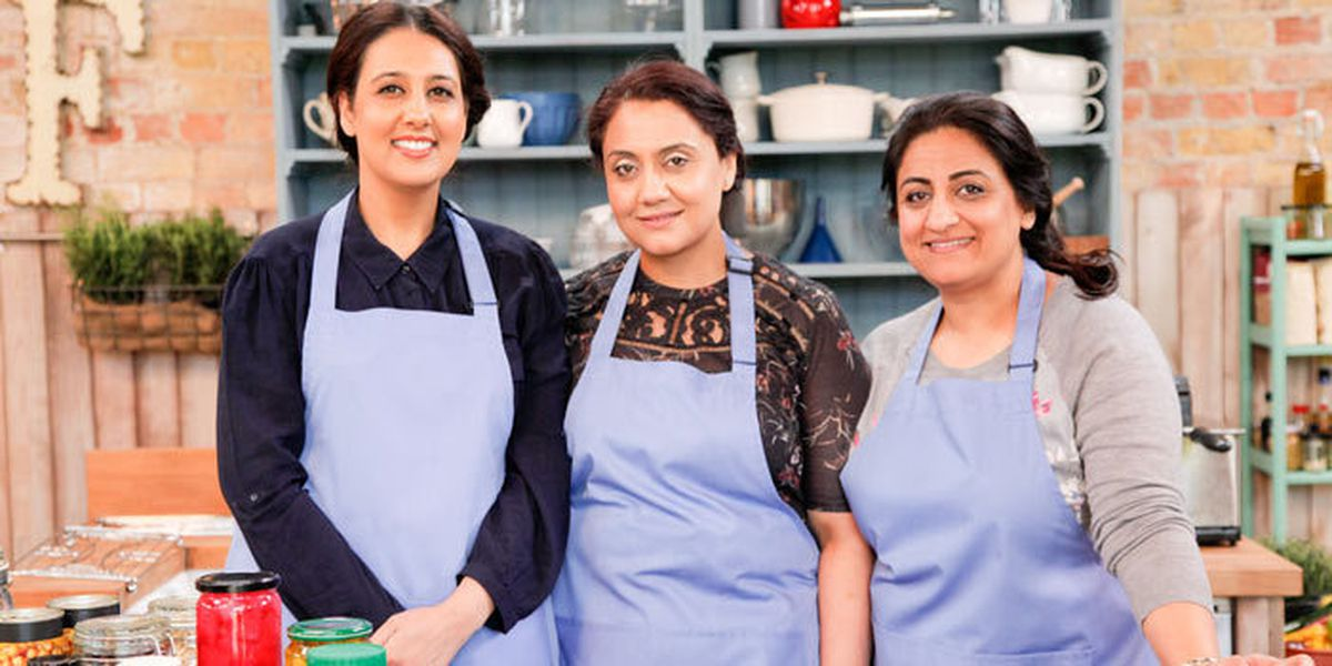 Bobby, Lorna and Monika on The Big Damily Cooking Showdown. Photo from: https://www.bbcgoodfood.com/article/who-are-big-family-cooking-showdown-contestants