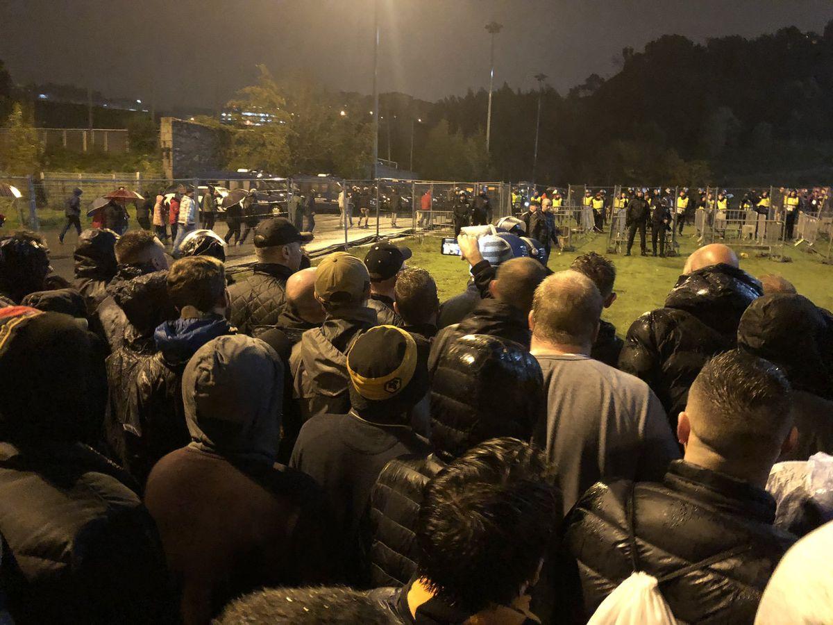 Queueing Wolves fans outside the Estádio Municipal de Braga. Photo: Pete Carvell