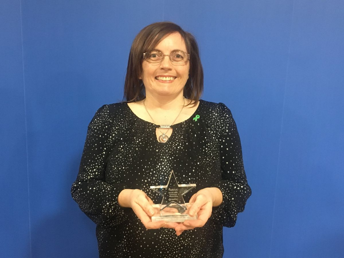 Louise Dutton was named a Mental Health Star at the Thrive Mental Health Commission Awards 2018