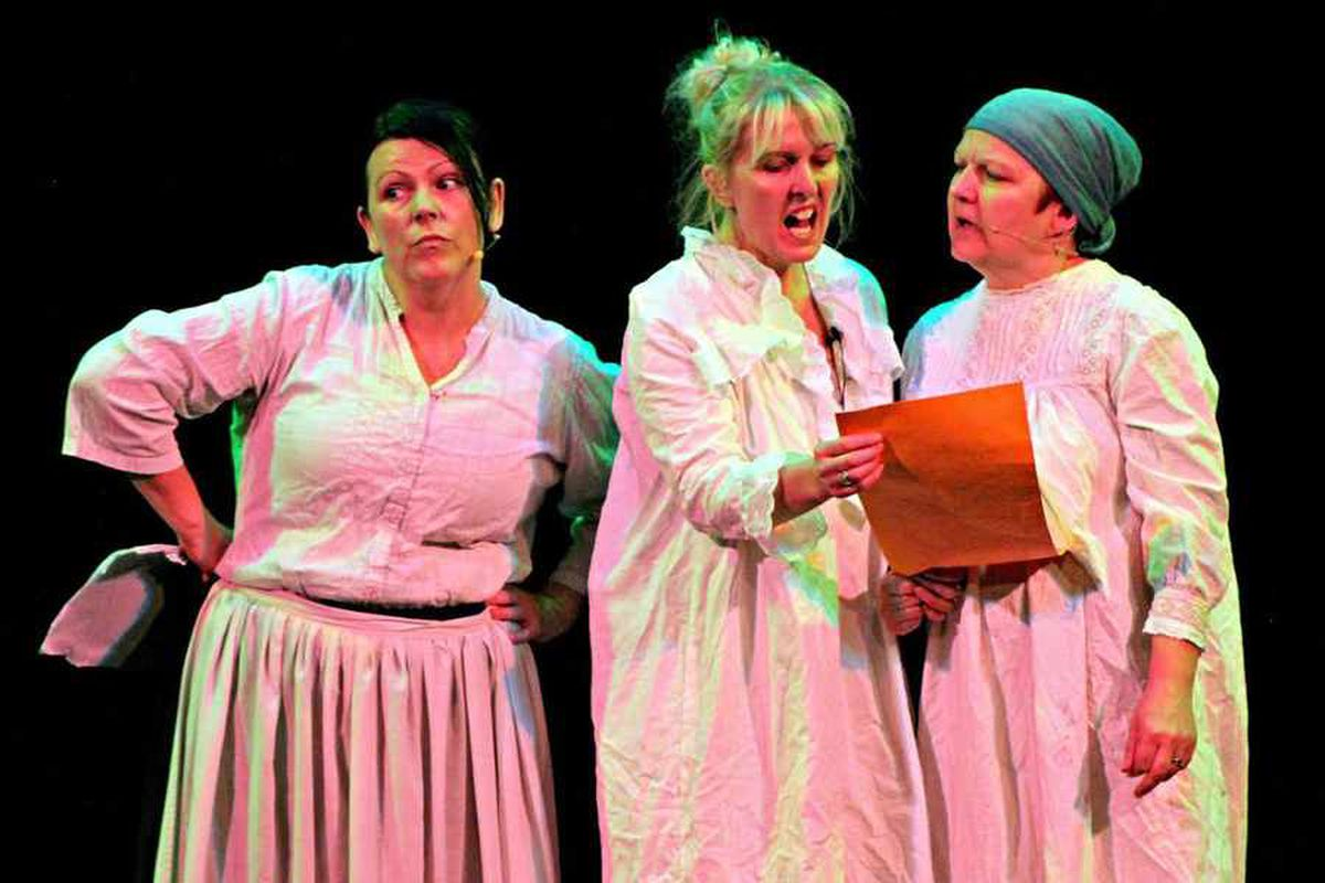 Another argument is brewing between Florrie Froggatt (Deb Nicholls, middle) and sister Millie (Jacky Fellows, right) as narrator Lizzie Cotterill (Sue Hawkins) looks on