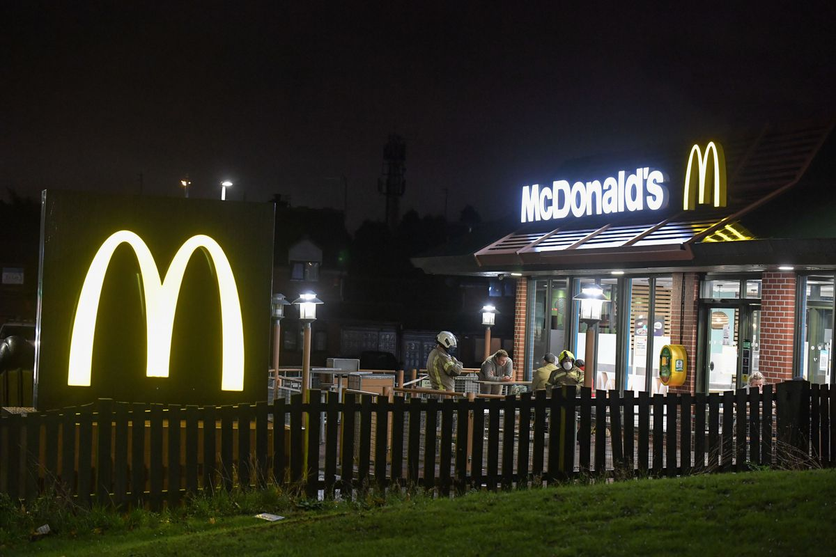 Emergency services at McDonald's in Upper Gornal. Photo: SnapperSK