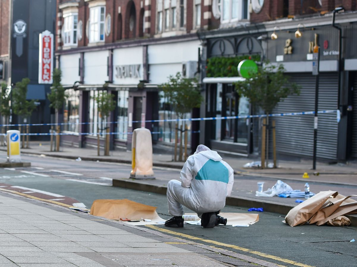 Evidence is collected on Hurst Street in Birmingham city centre. Photo: SnapperSK