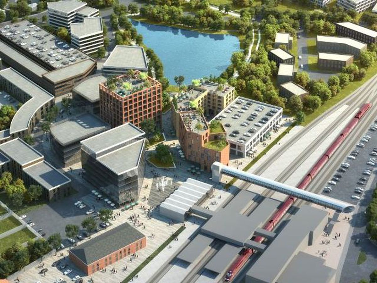 An artist's impression of what the Gateway site might look like, featuring the HS2 hub