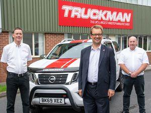 Left to right, Mike Wheeler, Truckman Executive Chairman, Mike Wood MP and Richard Langman, Truckman Managing Director