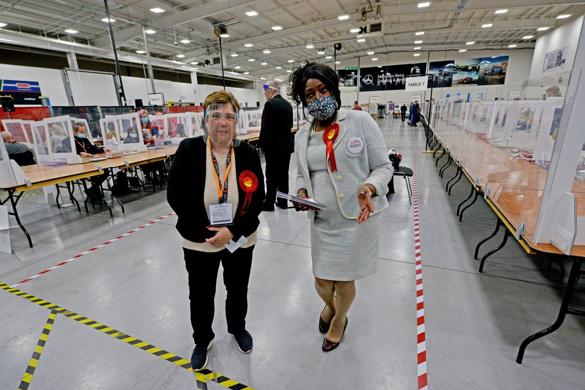 Councillor Zee Russell who won her Ettingshall seat and her election agent Councillor Sandra Samuels