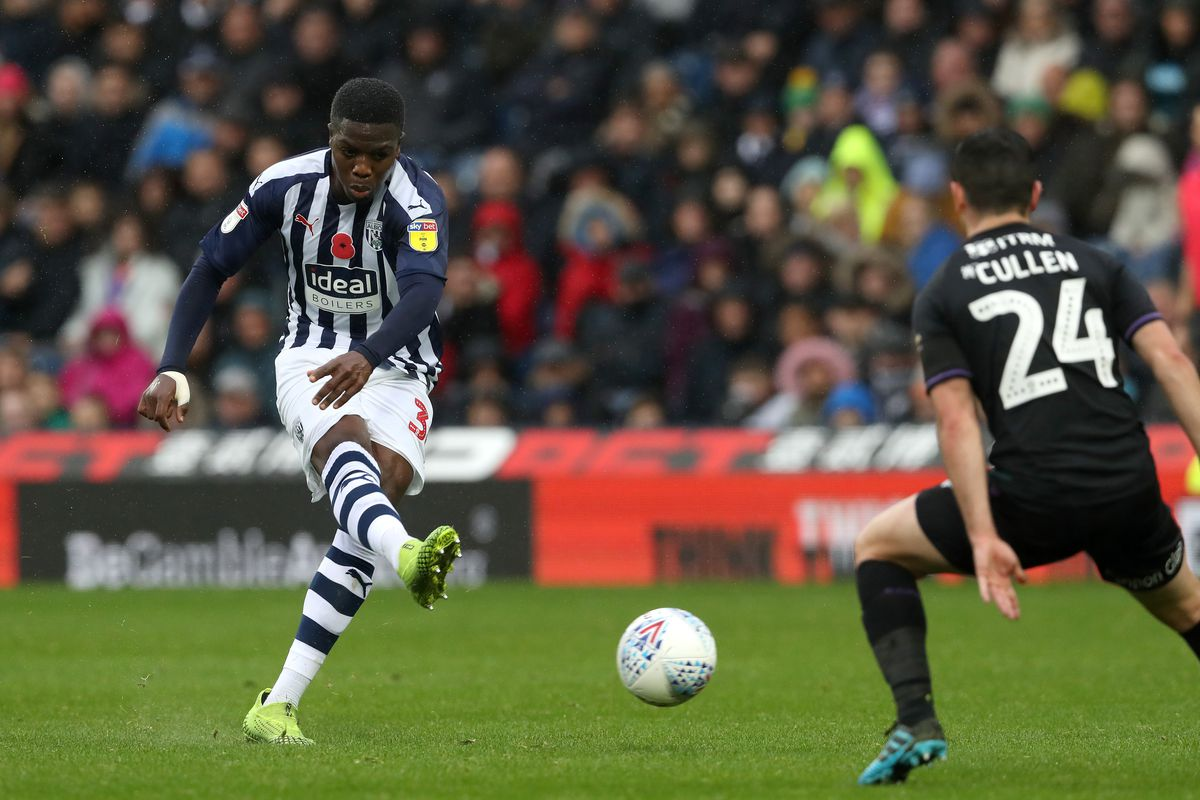 Nathan Ferguson of West Bromwich Albion takes a shot at goal past Josh Cullen Charlton Athletic. (AMA)