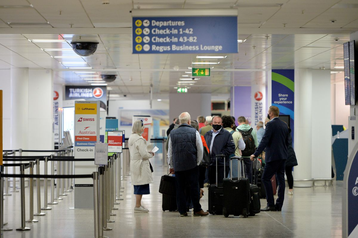 Holidaymakers gather at Birmingham Airport