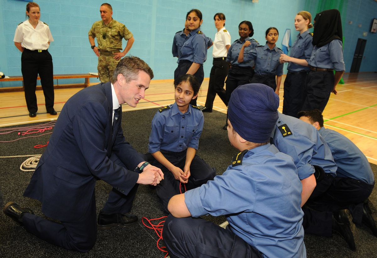 Gavin Williamson with the cadets