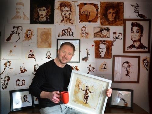 Former Oldbury man Wayne Wright turns spilt coffee into art