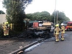 Caravan reduced to ashes in Willenhall blaze