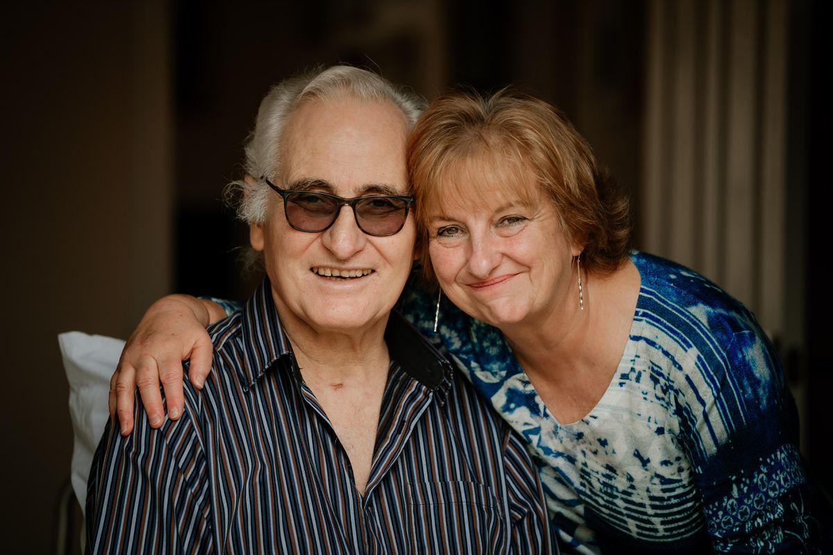 Paul Hodgskin with his partner Sue Dhingra