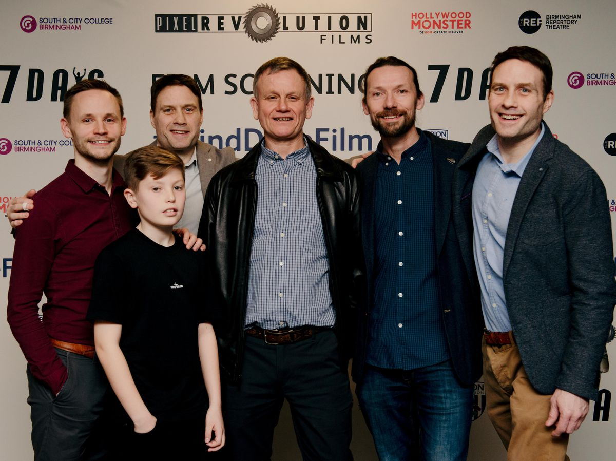 """Left to right, lead actor Jack Lane, Charlie Bowell who played a young dave, Co-director Dominic Higgins, """"Blind Dave"""" Heeley, producer Nigel Martin Davey and Co-director Ian Higgins"""