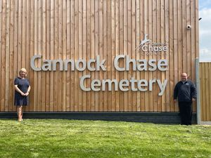 Councillor Adrienne Fitzgerald and Colin Donnelly, project manager, at Cannock Chase Cemetery