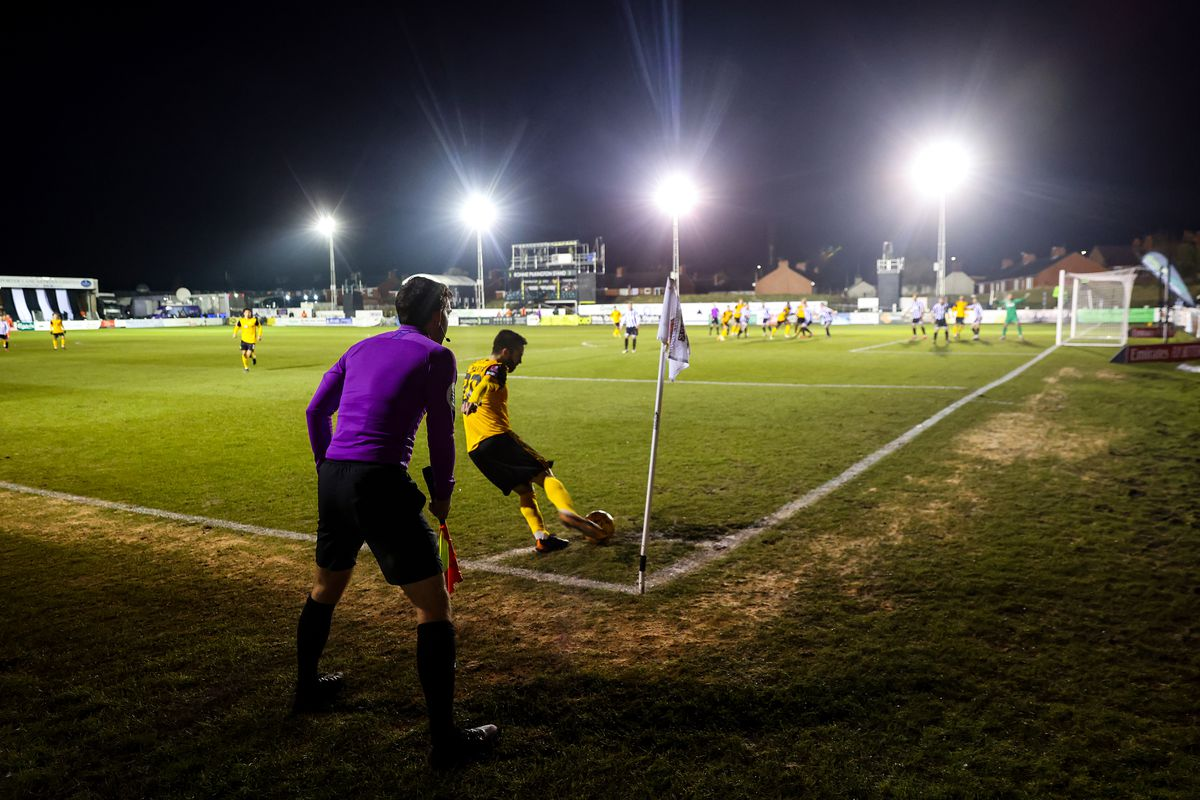 A general view of match action at Victory Park, home stadium of Chorley FC as Joao Moutinho of Wolverhampton Wanderers takes a corner. (AMA)