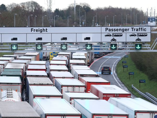Queues of lorries