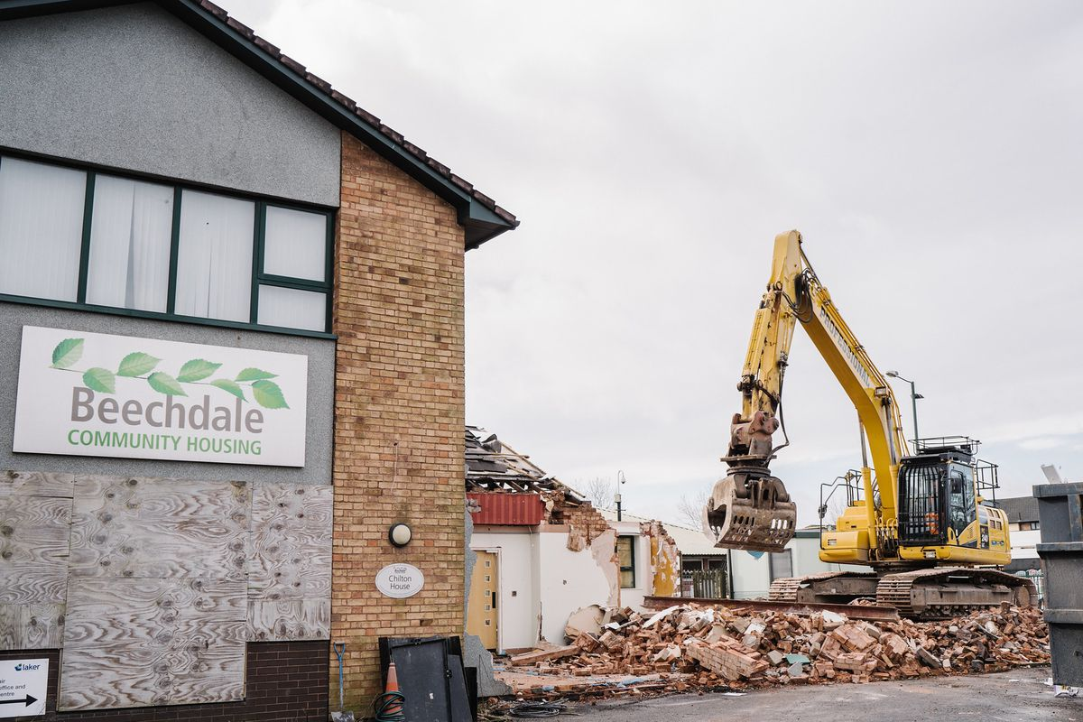 Demolition work is underway