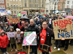 Campaigners rally in the rain in NHS plea over health services in Stafford - PICTURES