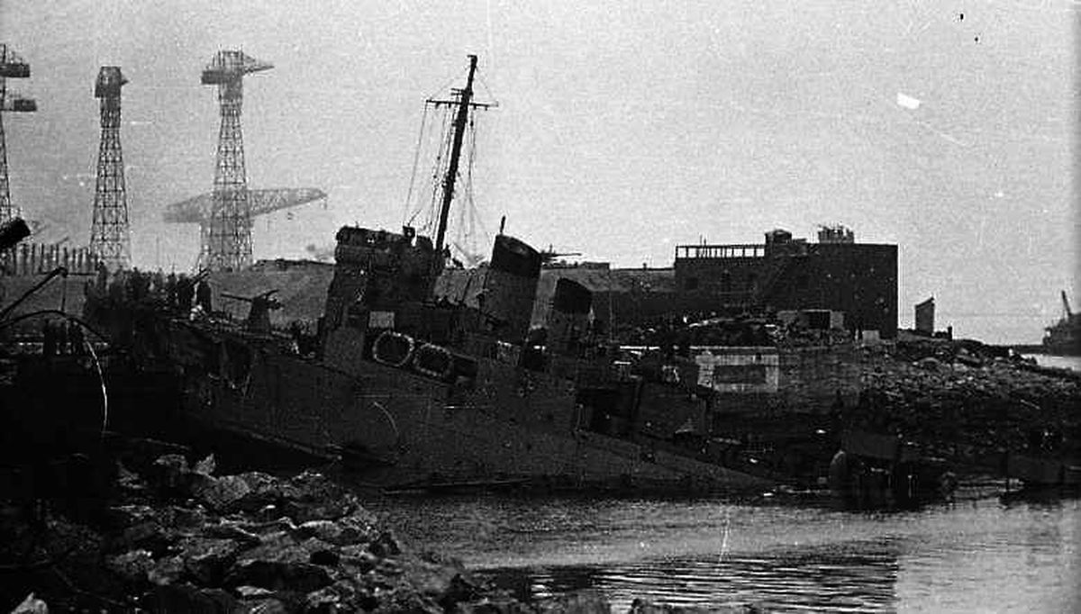 HMS Campbeltown was rammed into the Normandie Dock gates at Saint-Nazaire in 1942