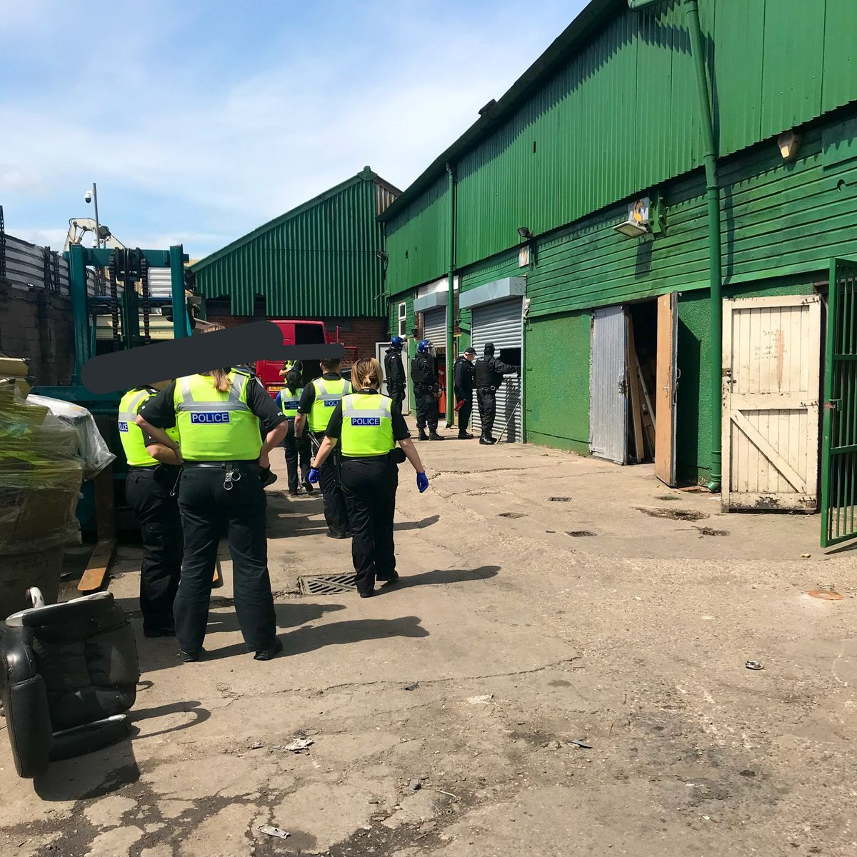 Police seized a large quantity of cannabis, alongside a number of offensive weapons, three air rifles, a stolen van and suspected stolen car parts