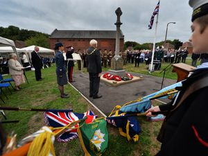 People attending the ceremony at the Woodsetton War Memorial