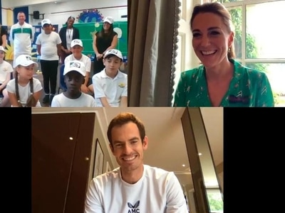 Kate serves up tennis star Sir Andy Murray to young fans