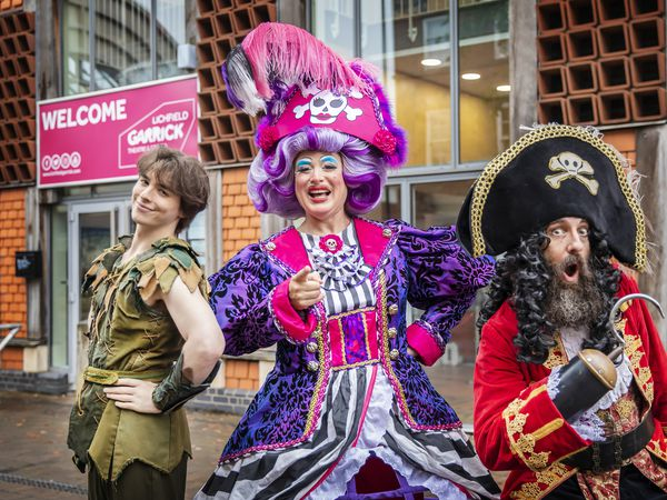 Peter Pan (Marcus Billany), Mrs Smee (Sam Rabone) and Captain Hook (David McKechnie.(Picture by Pamela Raith)