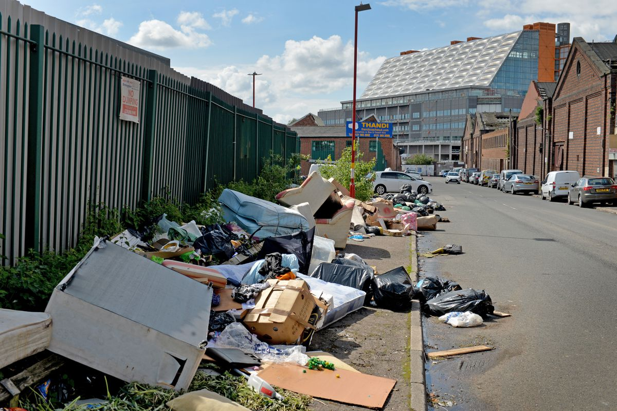 Household waste and furniture are part of the mounds of rubbish