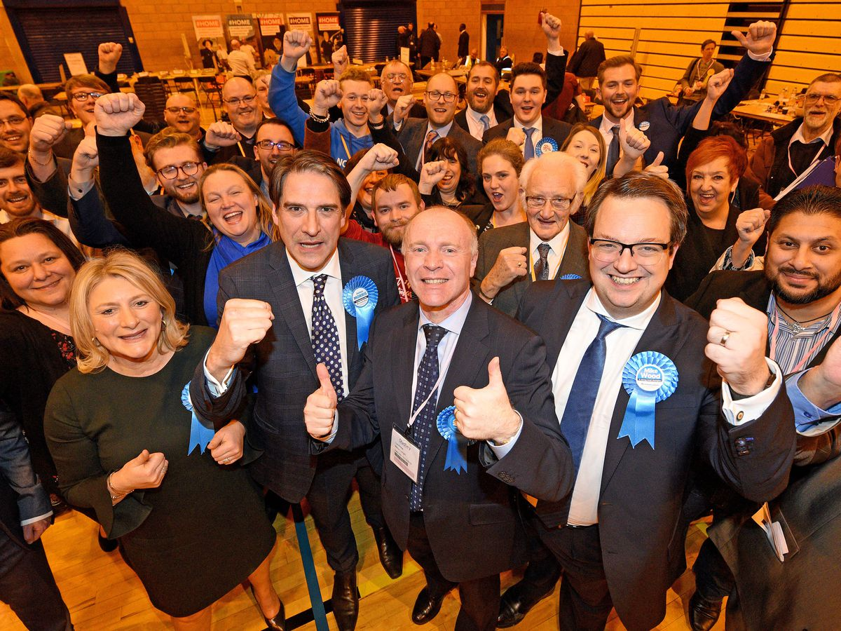 Conservative MPs celebrate after winning every seat in Dudley