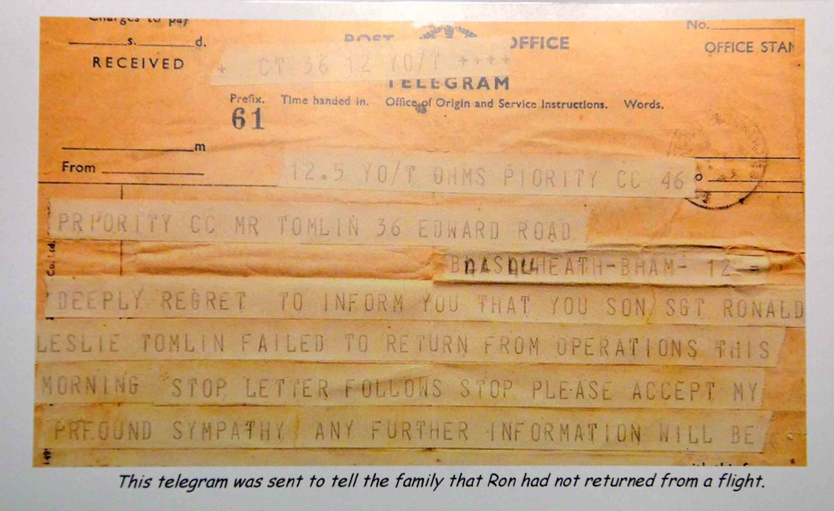 The telegram that revealed Ron was missing in action during the Second World War