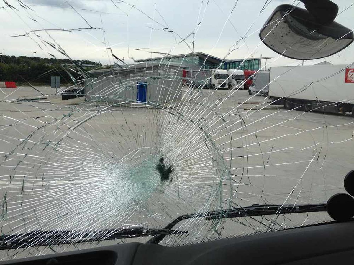 The lorry's window was left shattered