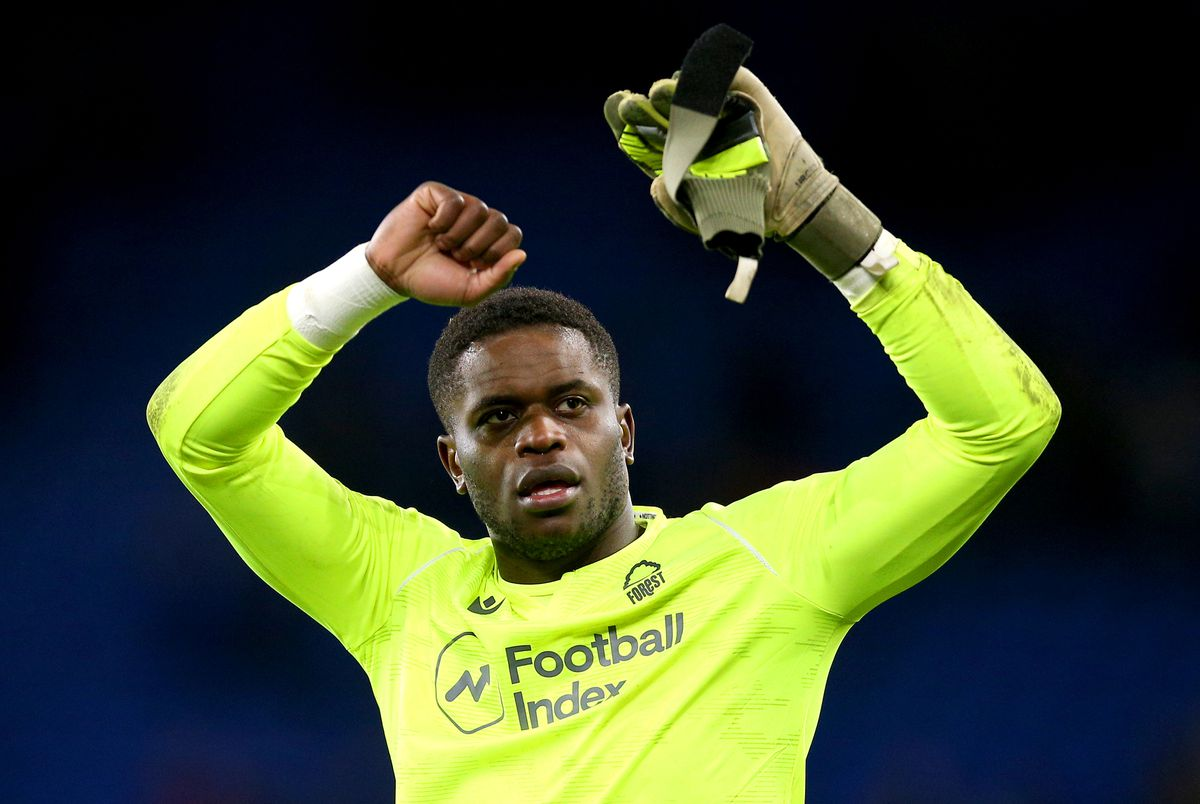 Nottingham Forest goalkeeper Brice Samba celebrates the result at the end of the Sky Bet Championship match at Cardiff City Stadium.