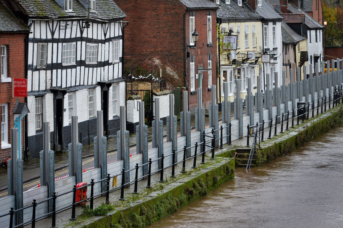 The flood barriers have been put up along the river in Bewdley