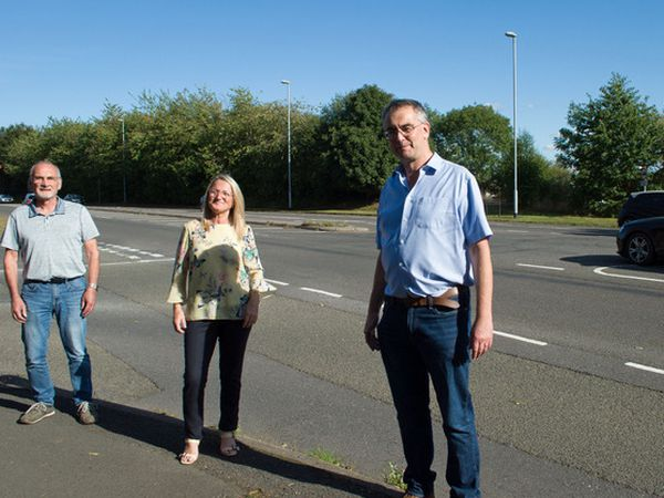 Robin Horton, Councillor Paul Ray and Elaine Hutchings are campaigning for road safety improvements at the junction of Grange Lane and Eastern Avenue.
