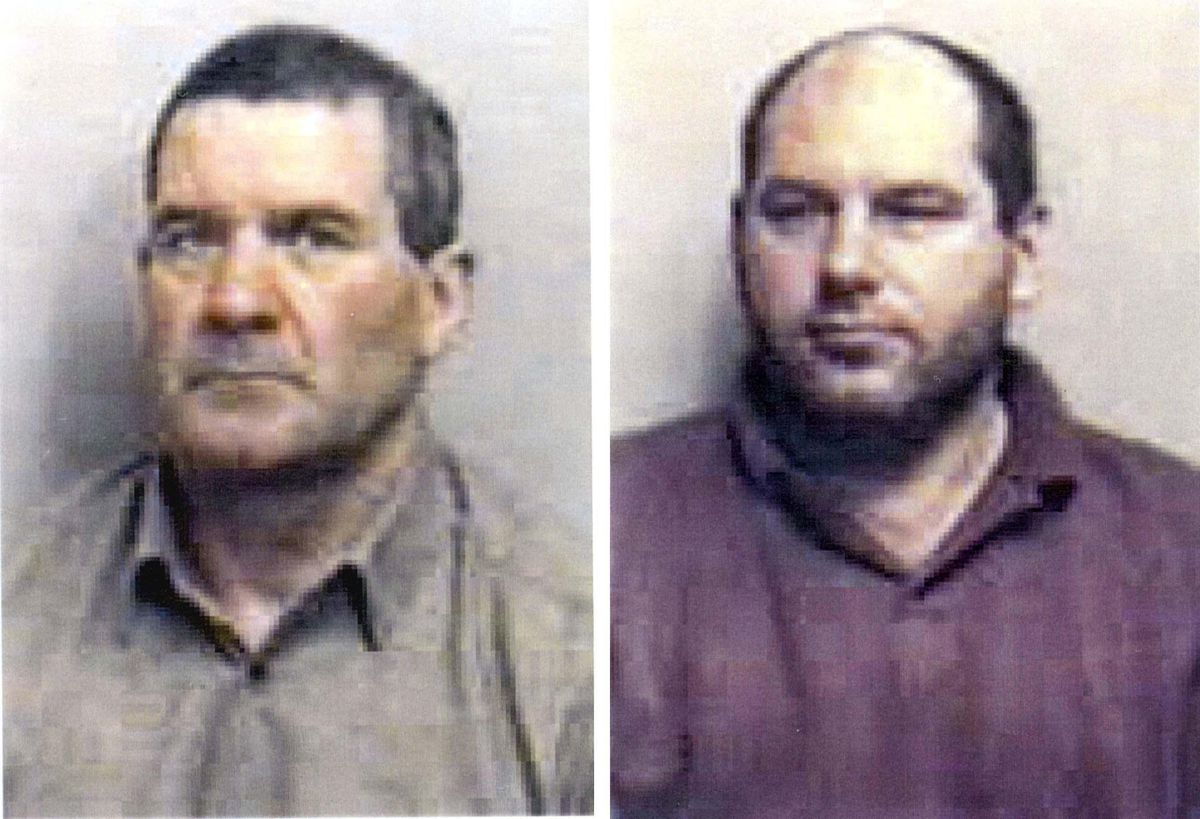 Essex Police handout photos of Michael Steele (left), 62, of Great Bentley, Essex, and Jack Whomes, 44, of Brockford, Suffolk, who were jailed for the 1995 killing of three men in what became known as the 'Essex Boys murder'
