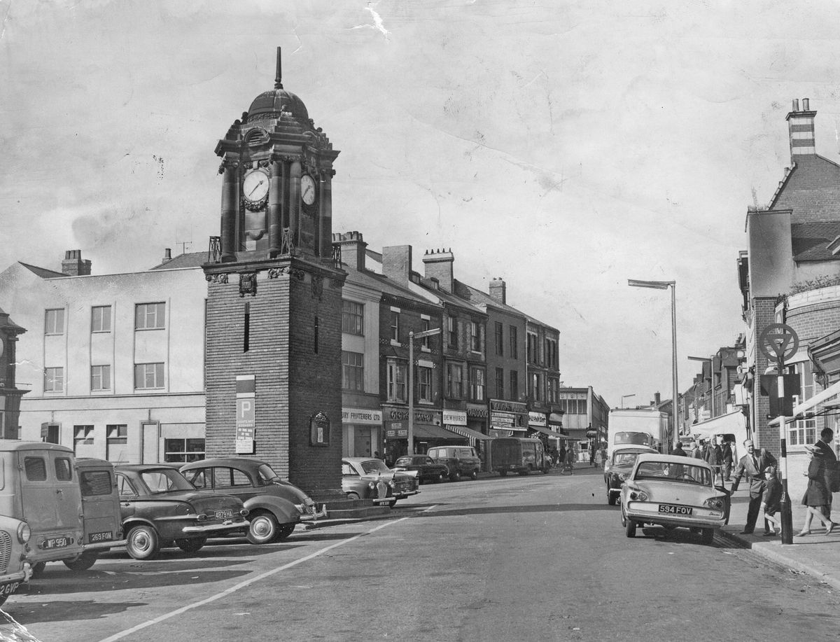 How Wednesbury's Market Place looked with its familiar clock tower in September 1964