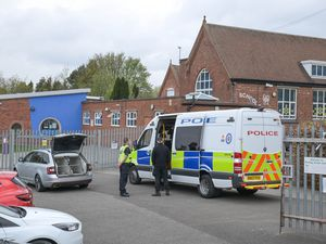 Police officers and dogs have been searching the school shortly after 8.30am. Photo: SnapperSK