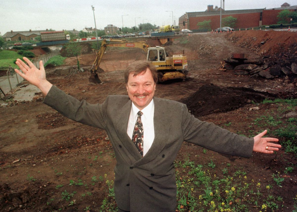 Councillor Phil Bateman MBE pictured in 1996 at the site of the Bilston Street island as the bridge was built to carry the Metro into the city centre