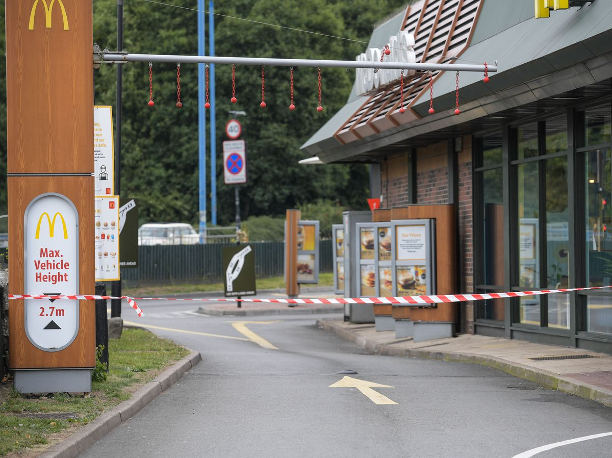 The drive-through taped off at McDonald's in Great Bridge which has been closed after staff tested positive for coronavirus. Photo: SnapperSK