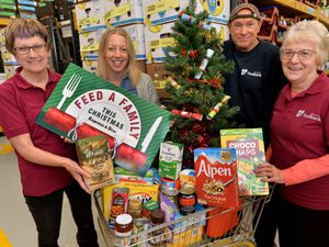 Helping to launch this year's Feed a Family This Christmas appeal are Kay Cross, Jen Coleman, Peter Wunderlich and Jenny Williams at the Black Country Foodbank