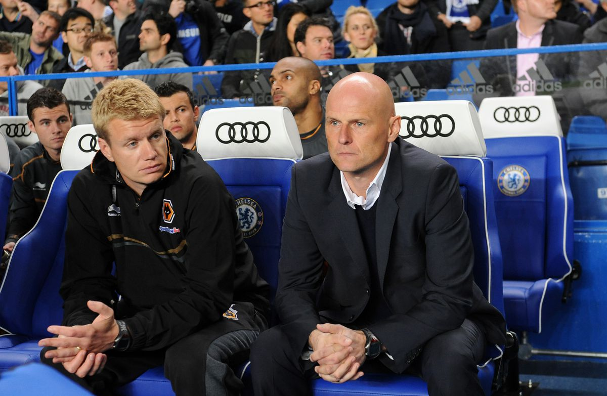 Johan Lange (left) with then Wolves first team coach Stale Solbakken (AMA)