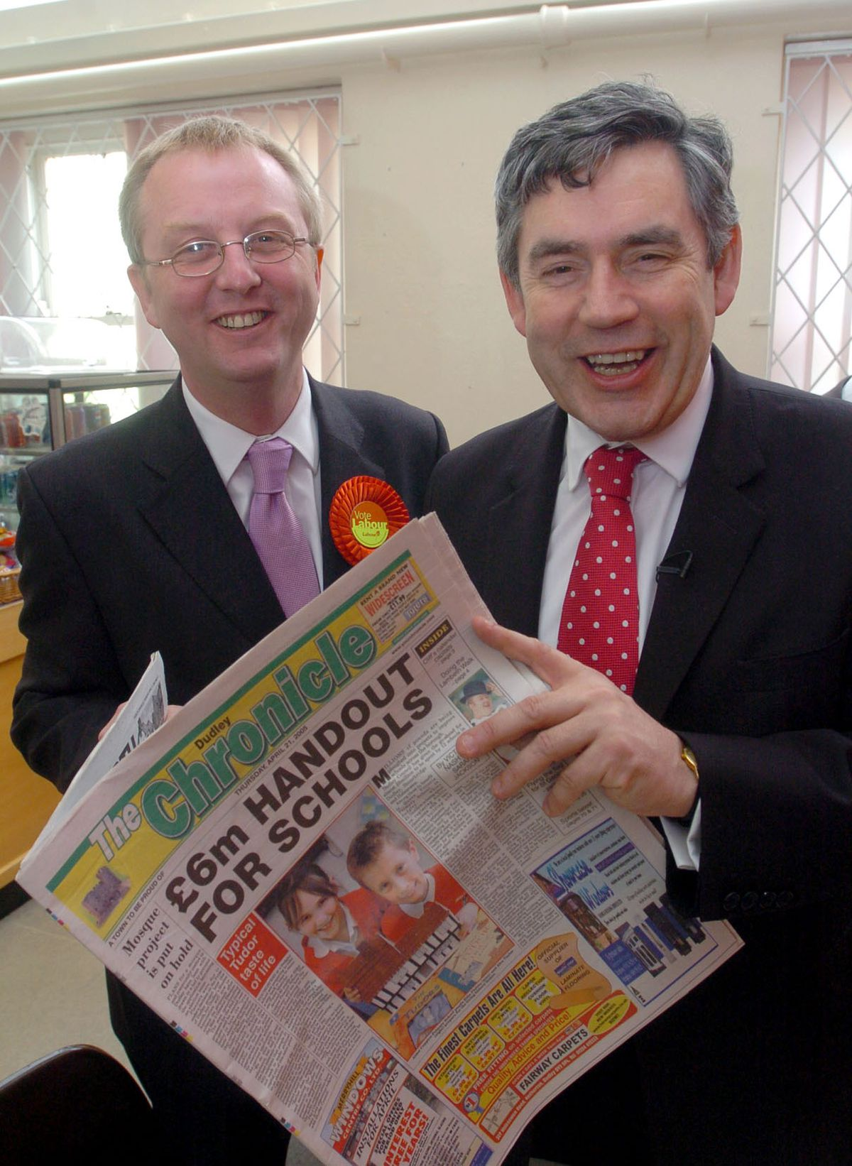 Mr Austin pictured with then-chancellor Gordon Brown on the campaign trail in 2005