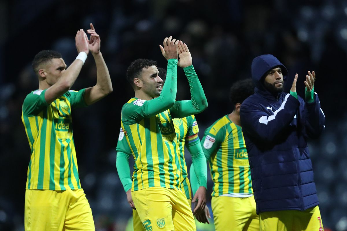 Kieran Gibbs of West Bromwich Albion, Hal Robson-Kanu of West Bromwich Albion and Matt Phillips of West Bromwich Albion applaud the West Bromwich Albion Fans at the end of the match (AMA)