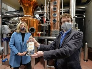 DUDLEY  COPYRIGHT TIM STURGESS EXPRESS AND STAR...... 23/03/2021  MMayor Andy Street will be visiting our Sadler's Distillery in Lye. Pictured with Suzanne Webb MP..