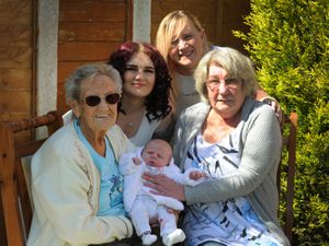 Five generations with the latest addition Harlee-Maie Clewley, aged 4 weeks, Eileen Wassall, aged 95, Olivia Read, aged 24, Elizabeth Mullin, aged 41, and Katie Lockley, aged 60