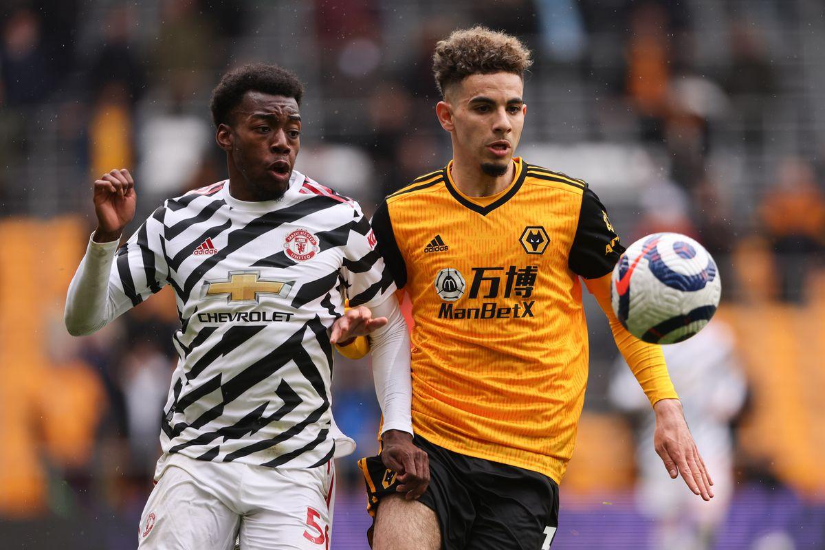 Anthony Elanga of Manchester United and Rayan Ait-Nouri of Wolverhampton Wanderers.