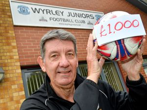 WALSALL COPYRIGHT MNA MEDIA TIM THURSFIELD 11/10/21 .Photo of Keith Hardy at football club.Nationwide Building Society has awarded Wyrley Juniors FC a £1000 grant to help the club in anyway they see fit..Pictured celebrating is chairman Keith Hardy..