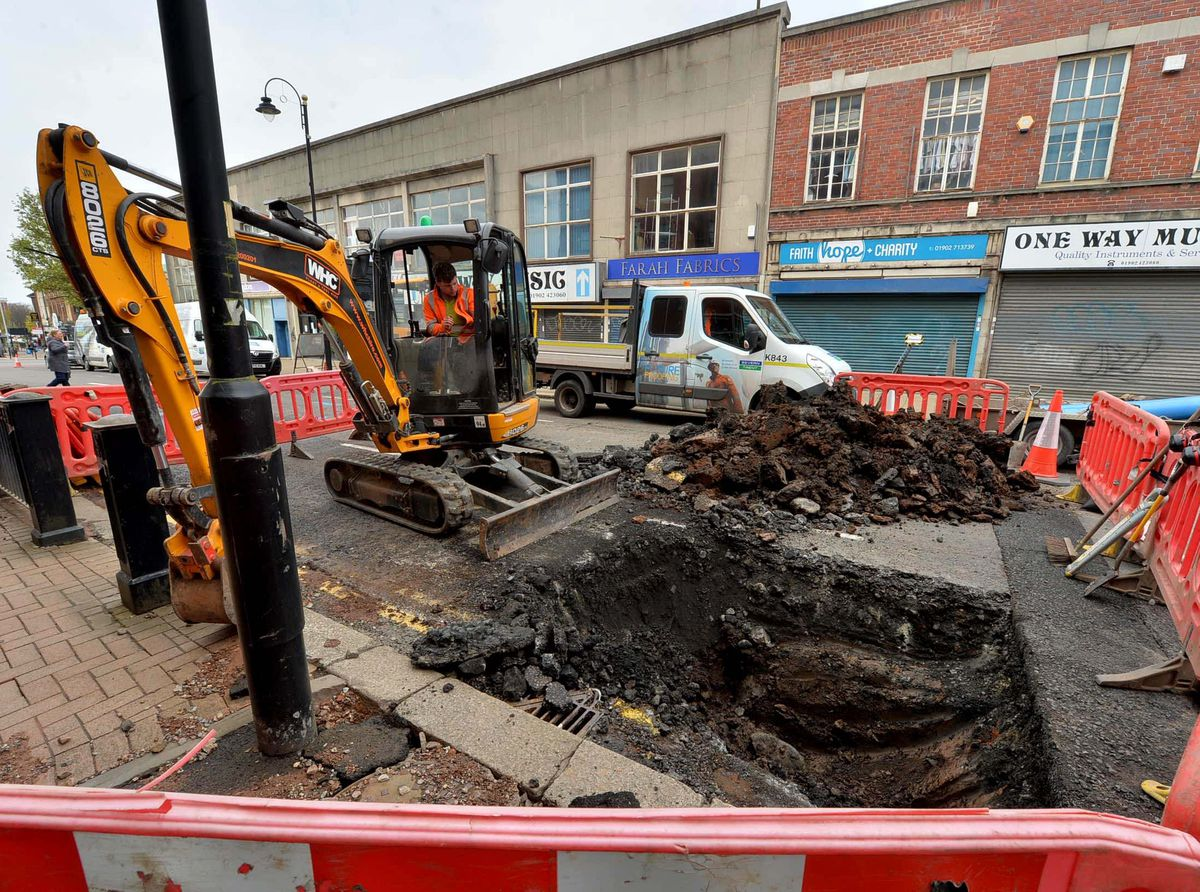 Repairs are underway on the burst pipe in Salop Street