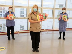 Some of the hospital staff with the cards