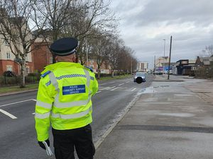 Police officers conducted a speed check on Holyhead Road in Wednesbury. Photo: Wednesbury Police